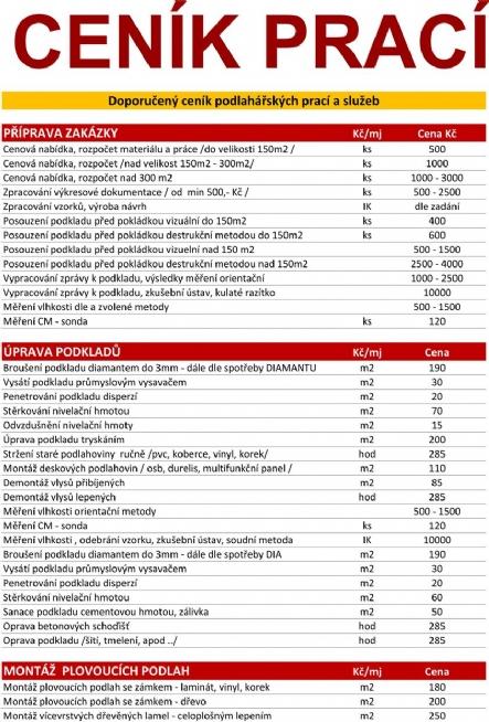 Ceník podlahářských prací