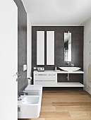 modern bathroom with wood floor
